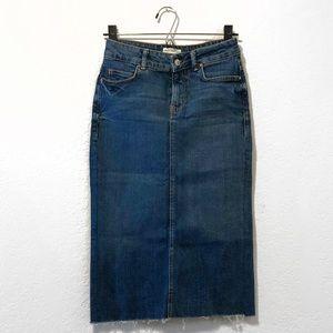 Zara Woman Denim Skirt Knee Length Raw Hem